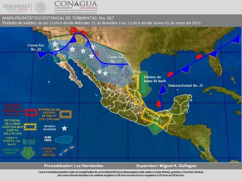 CONAGUA lanza alerta meteorológica por caída de temperaturas en noroeste y norte del país