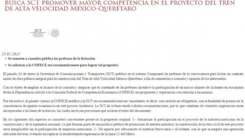 SCT acepta recomendaciones de la COFECE para Tren México-Querétaro