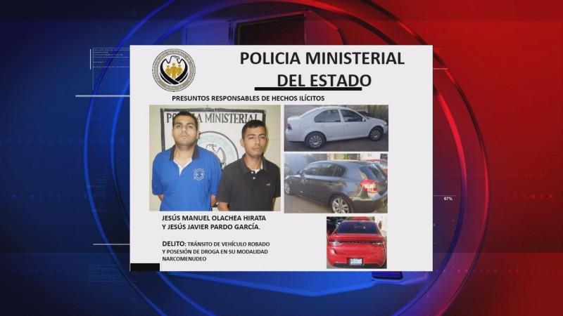 Captura la Policía Ministerial a dos presuntos delincuentes, les aseguran droga y vehículos robados