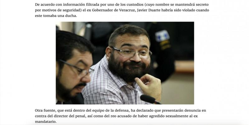 Supuesta violación de Duarte en el reclusorio se hace viral