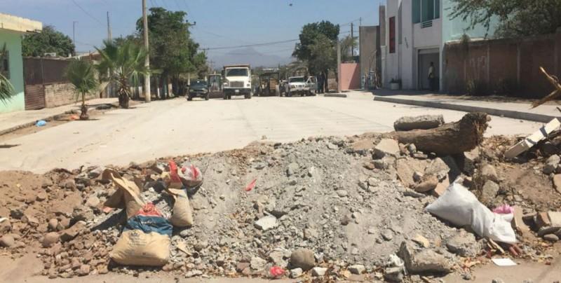 Dos meses paradas las obras de pavimentación en Ruiz Cortinez
