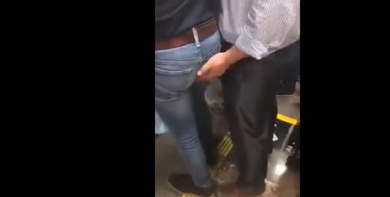 Captan supuesto acoso en el metro a un hombre