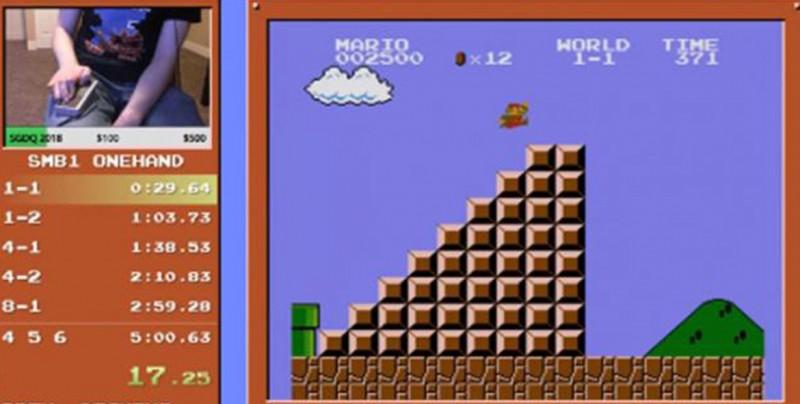 Supera 'Super Mario Bros' en tan solo 5 minutos y con solo una mano