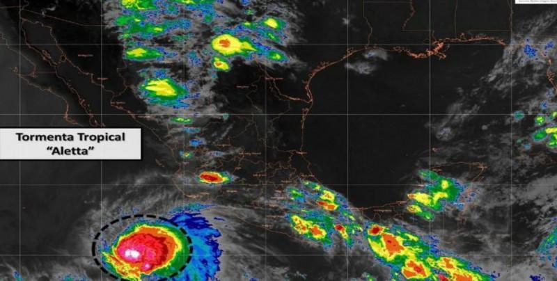 """Se fortalece """"Aletta"""" y se localiza al suroeste de Colima"""