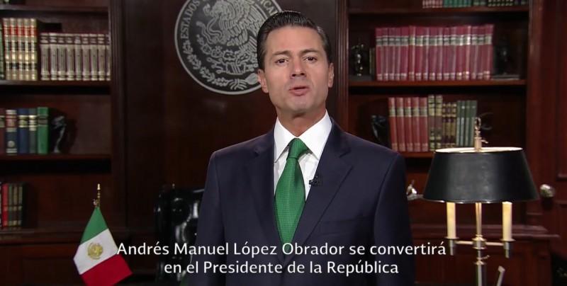 EPN felicita a Andrés Manuel López Obrador