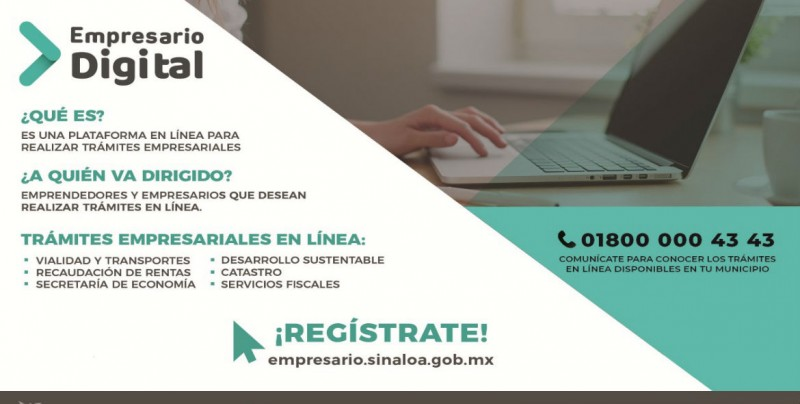 """En Sinaloa la plataforma digital """"Empresario Digital"""" atiende trámites en línea"""
