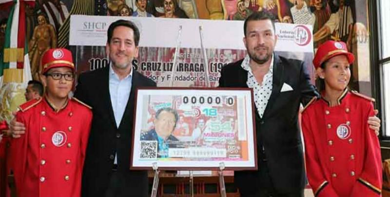 Por su centenario, Don Cruz Lizárraga en billete de la Lotería Nacional