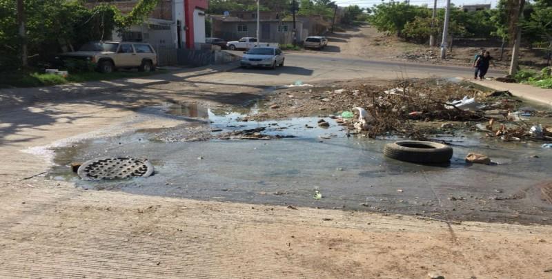 Fuerte fuga de drenaje en la colonia Independencia