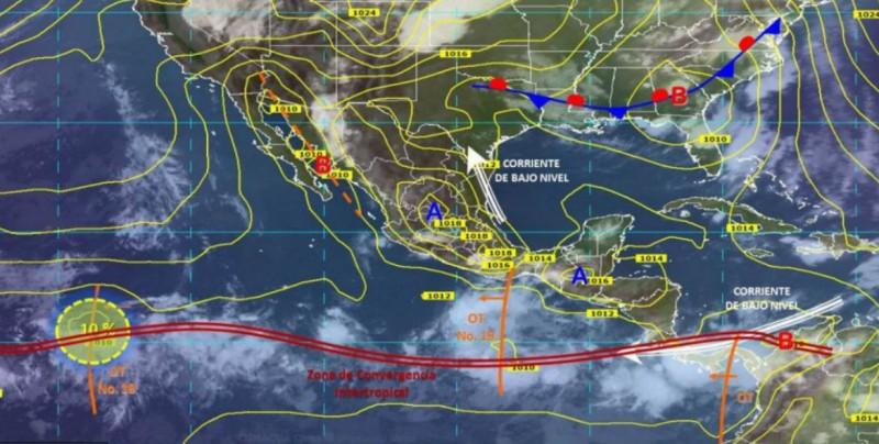 Canal de baja presión y onda tropical 19 provocará lluvias