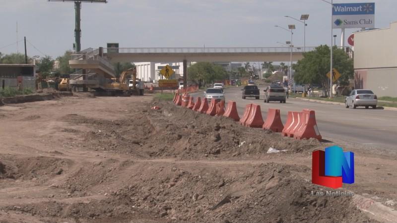 En Cajeme, entrada norte de la ciudad sin fecha de término de obras