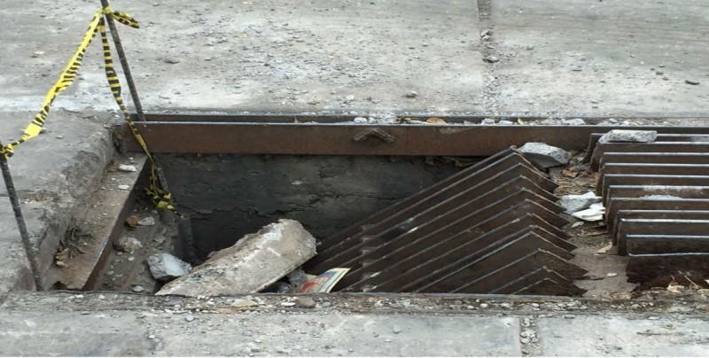 Alcantarilla dañada por el Boulevard Elbert