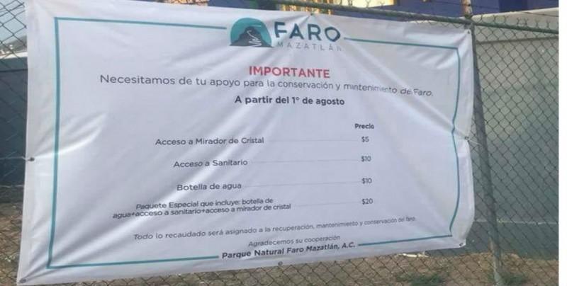 Se cobrarán servicios en el Faro de Mazatlán