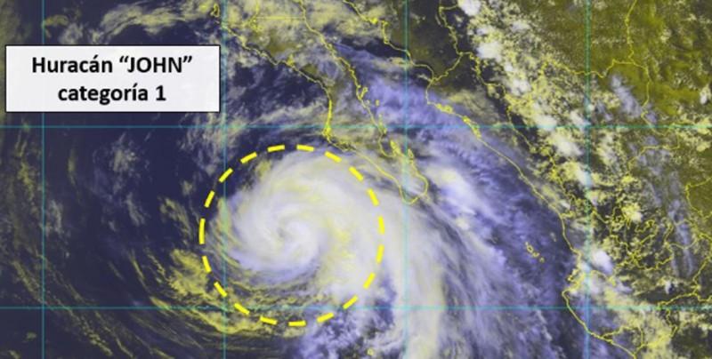 John se degrada a huracán categoría 1 y se prevén tormentas