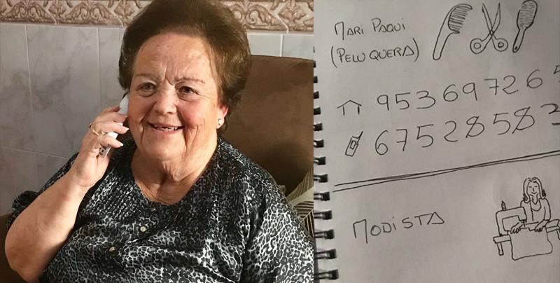 Un nieto le hace a su abuela una agenda telefónica personalizada