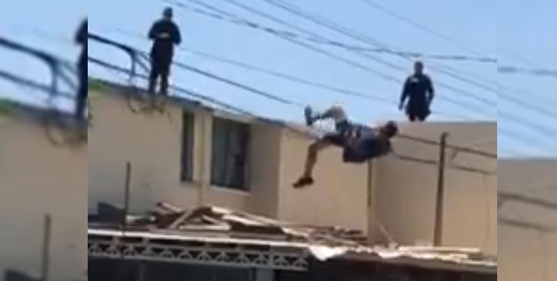 Ladrón salta de azotea y se cuelga de cables para evitar ser detenido