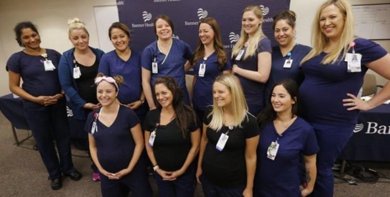 ¡Increíble caso de 16 enfermeras embarazadas al mismo tiempo!