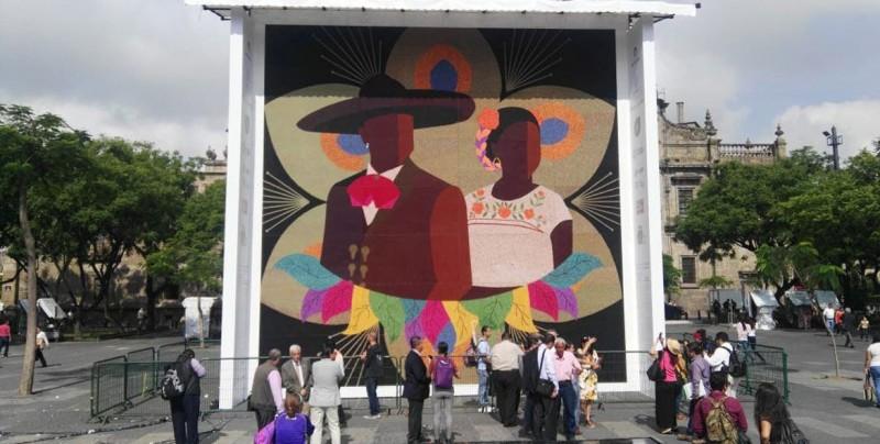Indígenas mexicanos logran récord Guinness al mosaico más grande
