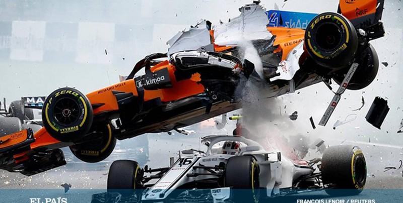 Video: Momento cuando auto F1 pasa por encima de Lerec