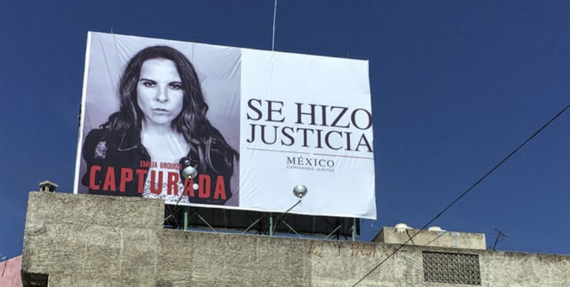 Colocan espectaculares de Kate Del Castillo como 'delincuente capturada'