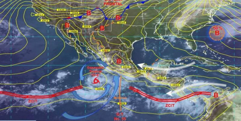 Onda tropical 39 y depresión tropical '20-E' provocará lluvias en México