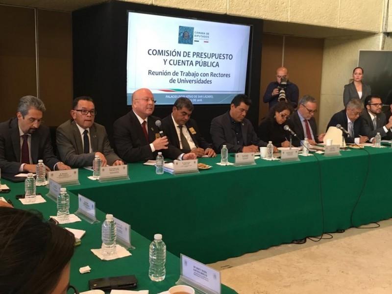 Se reúnen rectores con integrantes  de las Comisiones de Presupuesto y de Educación