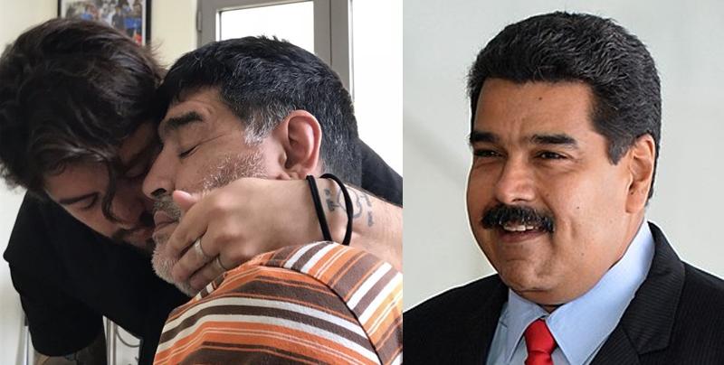 Maradona cumple años y lo felicitan tanto su hijo como Nicolas Maduro