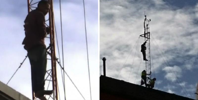 Hombre amenaza con saltar desde una antena en la CDMX