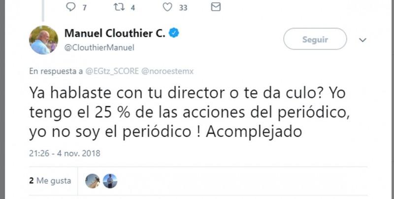 """Manuel Clouthier insulta a reportero, lo llama """"cu..., acomplejado y llorón"""""""