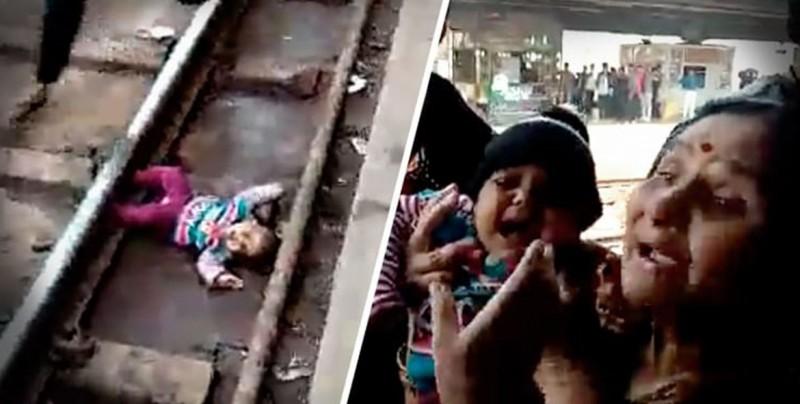 Bebé cae en vías del tren y se salva de milagro