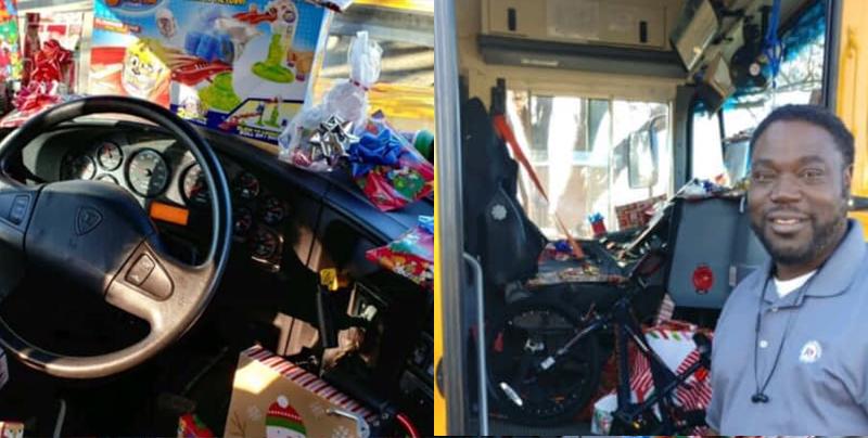 Un chófer de autobús regala obsequios a niños de misma escuela