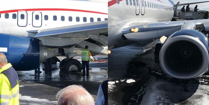 Evacúan avión de Aeroméxico al incendiarse neumáticos durante el aterrizaje