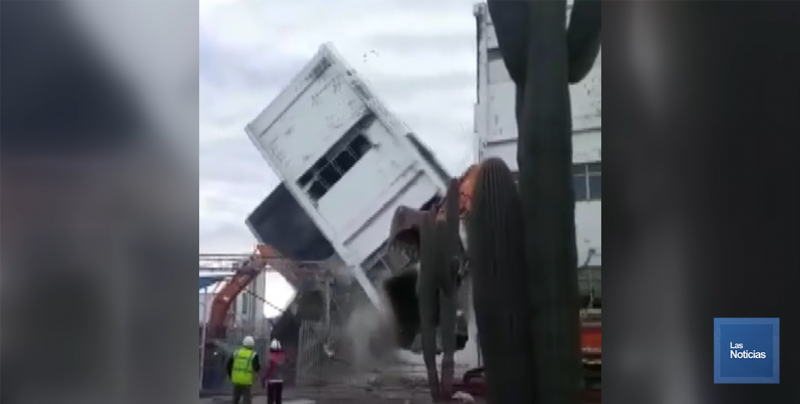 Colapsa edificio de Gamesa, lesiona a trabajador