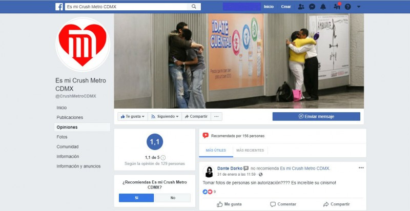 """Es Mi Crush Metro CDMX"", un romance a la delincuencia"