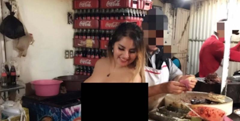 Actriz porno despacha en taquería de carne asada