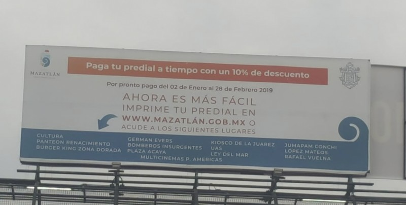 Encuentran errores de ortografía en espectacular del Ayuntamiento de Mazatlán
