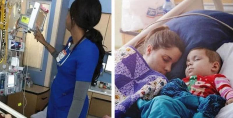 Toma foto a la enfermera que atiende a su hija y deja su conducta al descubierto