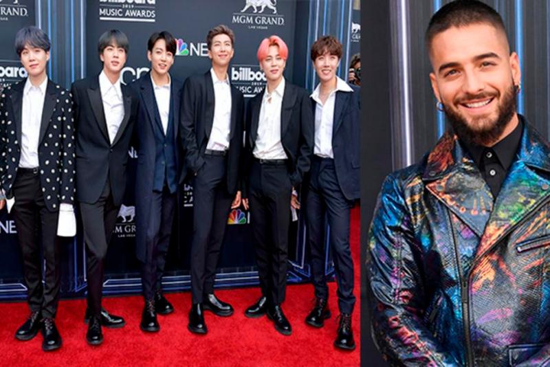 BTS brilla durante los premios Billboard y Maluma sonríe incómodo ante su presencia