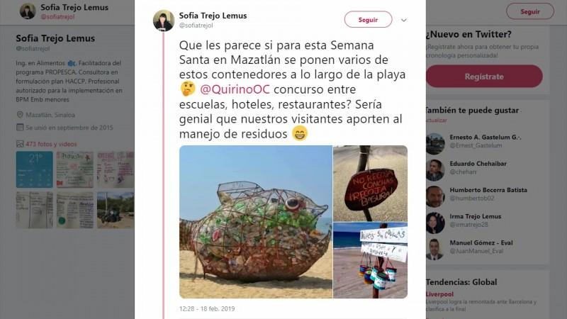 El twitt que trajo una 'avalancha' para rescatar las playas mazatlecas