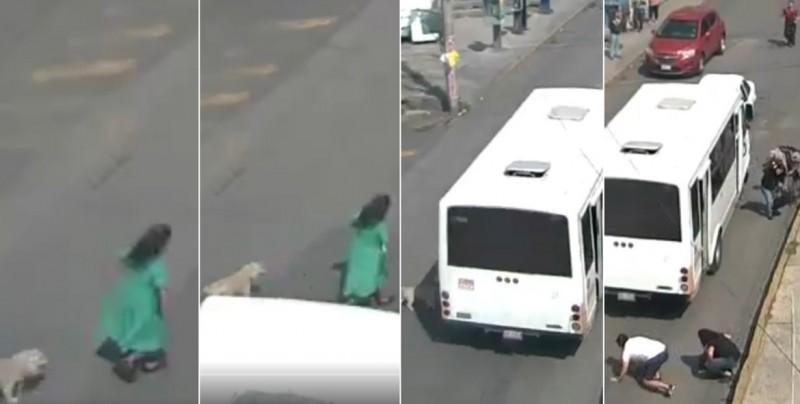 VIDEO: Captan el momento exacto en que microbús atropella a una mujer