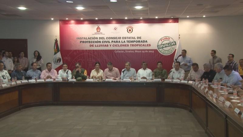 Instalan el Consejo Estatal de Protección Civil en Sinaloa ante el arribo de la temporada de lluvias y ciclones