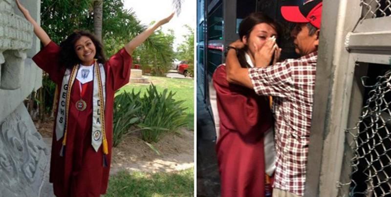 Cruza la frontera vestida con toga para abrazar a su padre deportado