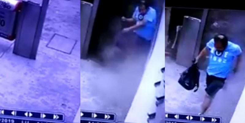 Hombre se salva por poco de ser aplastado por un camión