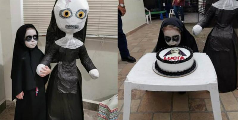 """¡Cumpleaños terrorífico! niña de 3 años hace su fiesta de """"La Monja"""""""