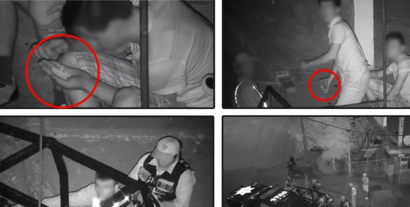 Detienen a 4 personas que intentaban dañar una videocámara