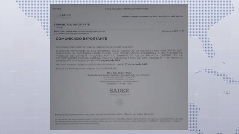 Se filtra circular de mas recortes de trabajadores en la SADER y denuncian falta de pagos en ASERCA
