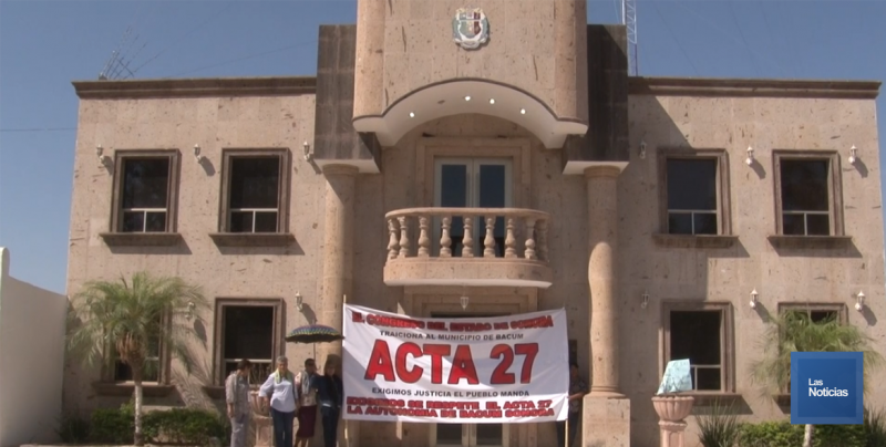 Cierran Ayuntamiento de Bácum opositores a Benita Aldama