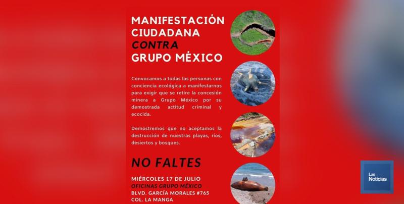Integrantes de la sociedad civil se manifestarán el próximo miércoles frente a Grupo México