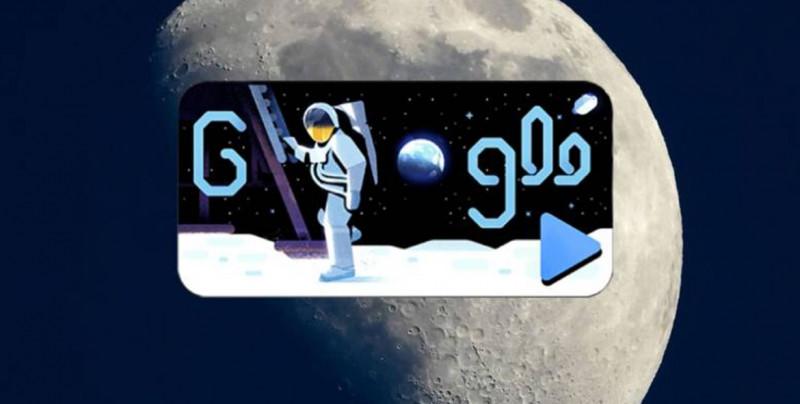 Michael Collins relata la llegada a la Luna en el Doodle de Google
