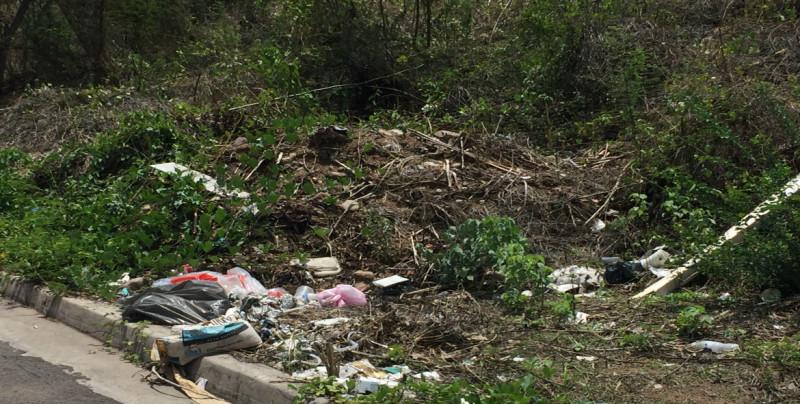 baches y basura por la calle del Pirul