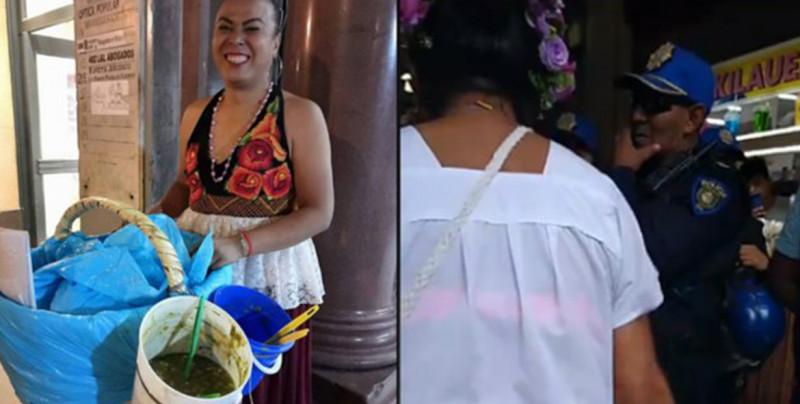 """VIDEO: """"Lady Tacos de Canasta"""" se enfrenta a policías tras quererle quitar su mercancía"""